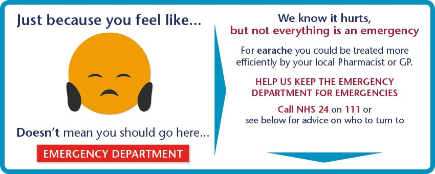 Not everything is an emergency. For earache you could be treated more efficiently  by your local Pharmacist or GP