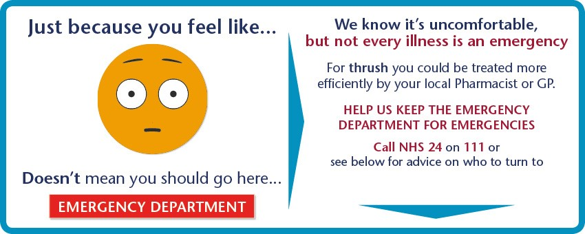 Not every illness is an emergency. For thrush you could be treated more efficiently  by your local Pharmacist or GP.